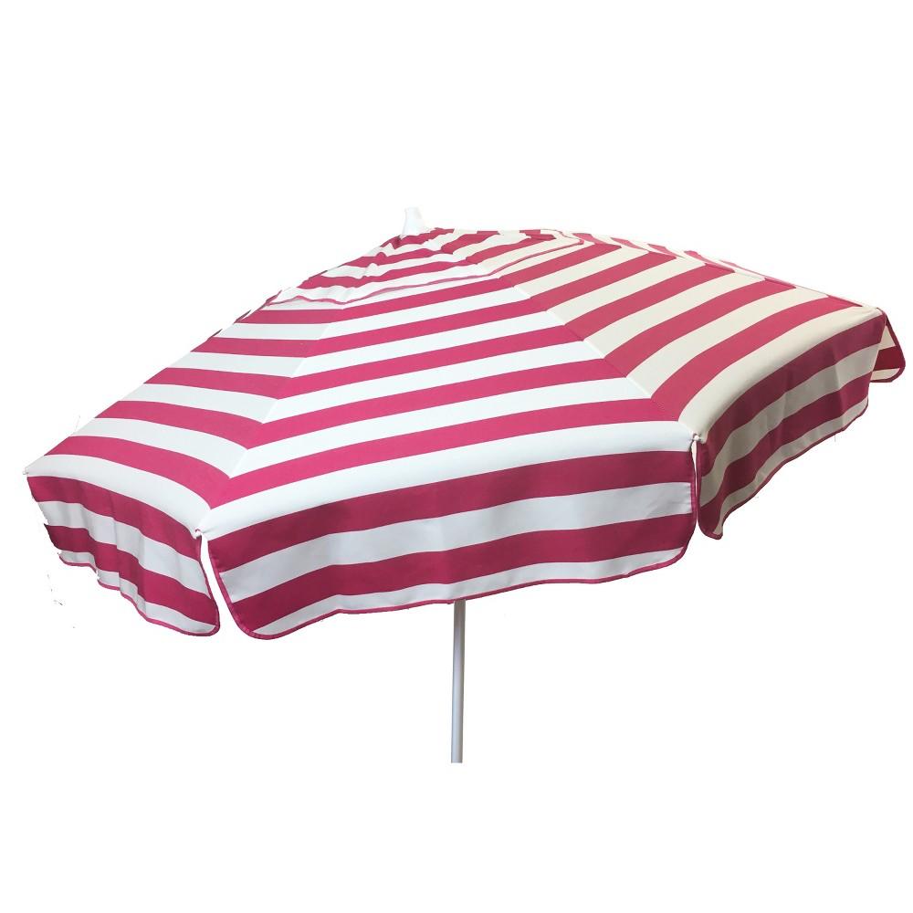 6' Italian Aluminum Collar Tilt Patio Umbrella - Parasol, Pnk/Wht Stripe