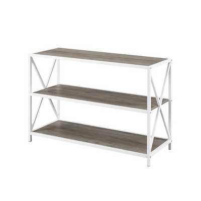 "X Frame Metal and Wood Media Bookshelf TV Stand for TVs up to 43"" - Saracina Home"