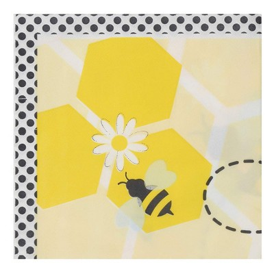 Blue Panda 150-Pack Disposable Paper Napkins Kids Birthday Party Supplies, Bumble Bee Design, 6.5x6.5""