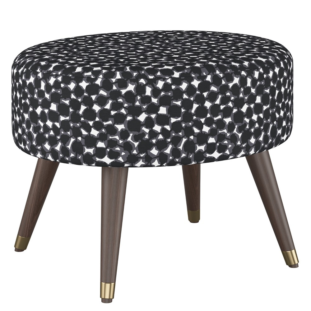 Farwell Oval Ottoman with Gold Caps Abstract Dot Black - Project 62
