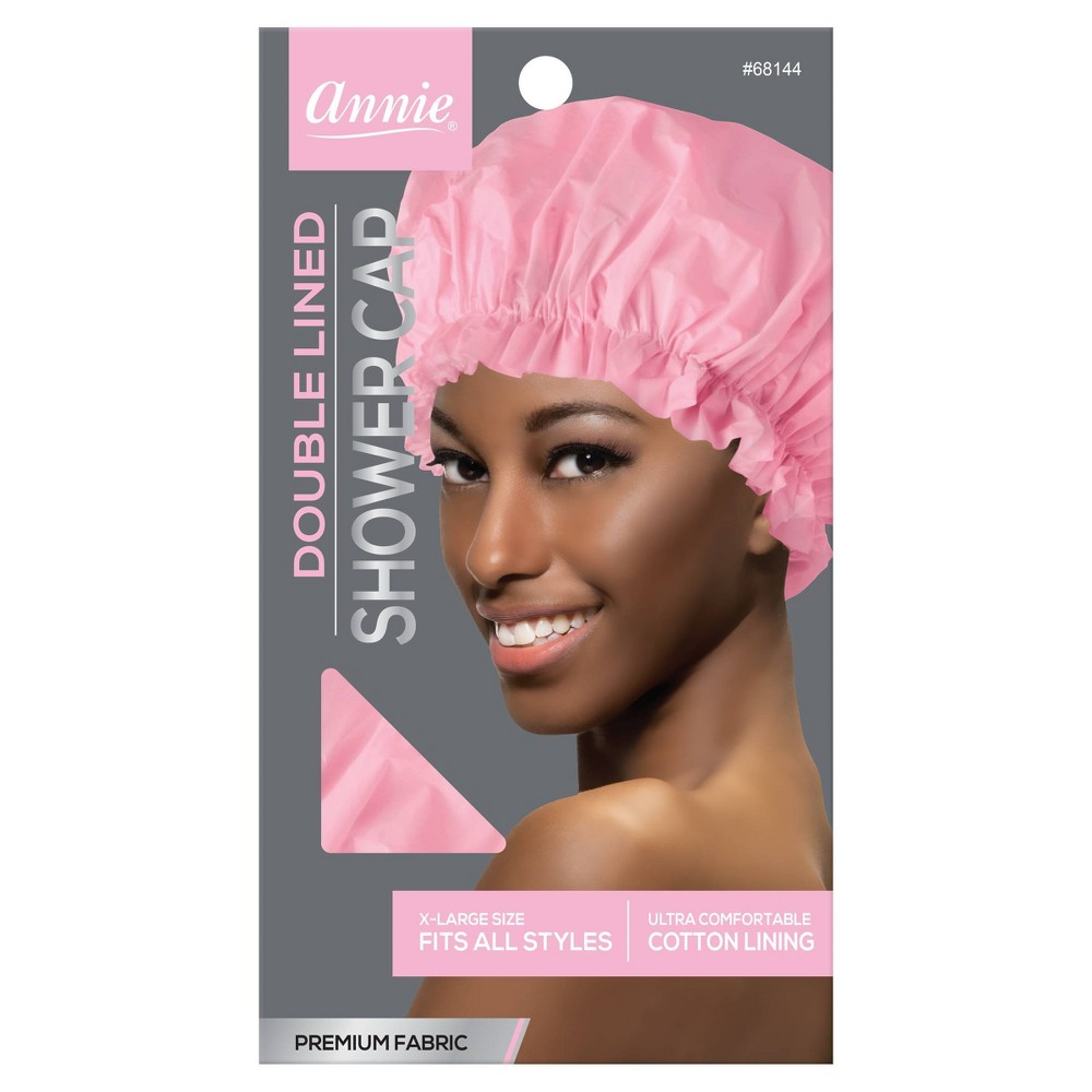 Image of Annie Deluxe Double Lined Shower Cap, Pink