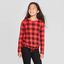 Girls' Plaid Cozy Pullover - Cat & Jack™ Red