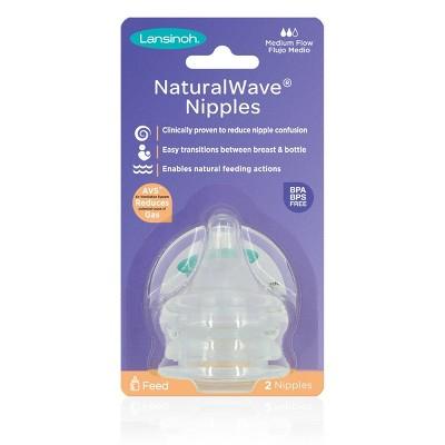 Lansinoh NaturalWAVE BPA-Free Silicone Baby Bottle Nipples - Slow Flow - 2pk