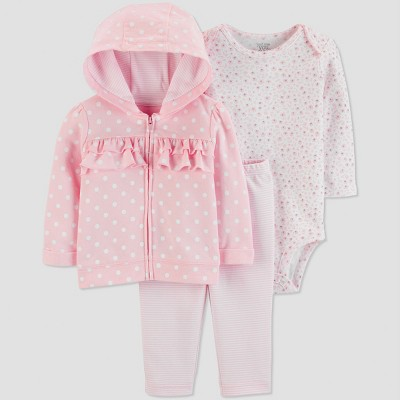Baby Girls' 3pc Dots Ruffle Long Sleeve Cotton Cardigan Set - Just One You® made by carter's Pink 6M