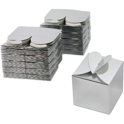 Sparkle and Bash 100-Pack Silver Party Favors Gift Box Treat Boxes Favor Boxes for Weddings, Birthdays, 2.5 In
