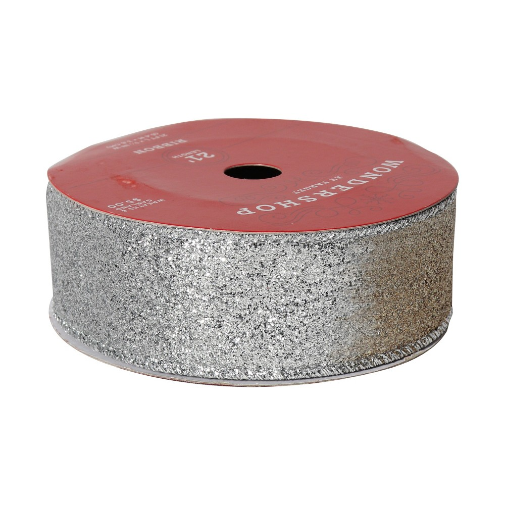 1.5 Ombre Champagne & Silver Glitter Ribbon 21' - Wondershop, Light Gold