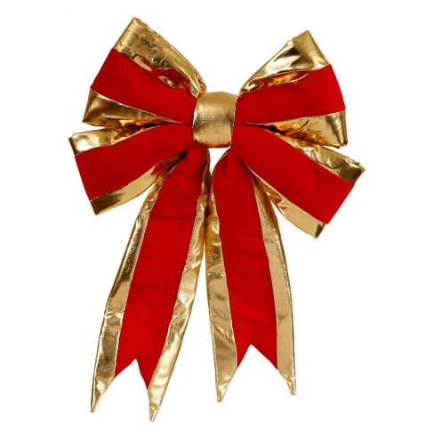 "16"" x 19"" Christmas Structured Bow With Gold Trim Red - image 1 of 1"