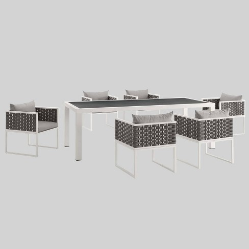 Stance 7pc Aluminum Patio Dining Set Gray - Modway - image 1 of 3