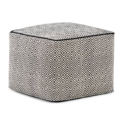 Dougan Square Moroccan Inspired Pouf Black/Natural Cotton - Wyndenhall