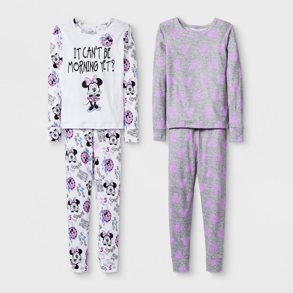 Girls' Disney Minnie Mouse 4pc Pajama Set - White/Purple 6