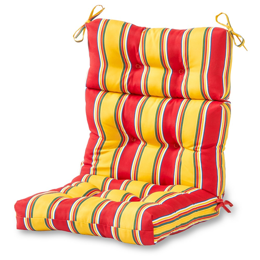 Image of Carnival Stripe Outdoor High Back Chair Cushion - Greendale Home Fashions
