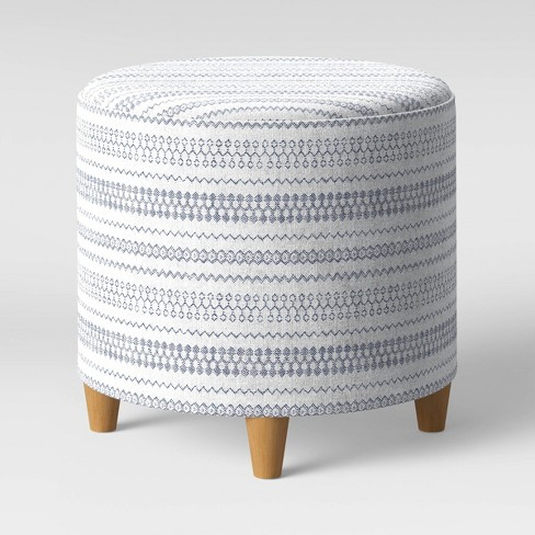 Stupendous Round Woven Ottoman Blue White Threshold Gmtry Best Dining Table And Chair Ideas Images Gmtryco