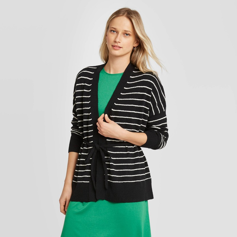 Women's Striped Long Sleeve Wrap Cardigan - Who What Wear Black XXL was $34.99 now $17.49 (50.0% off)