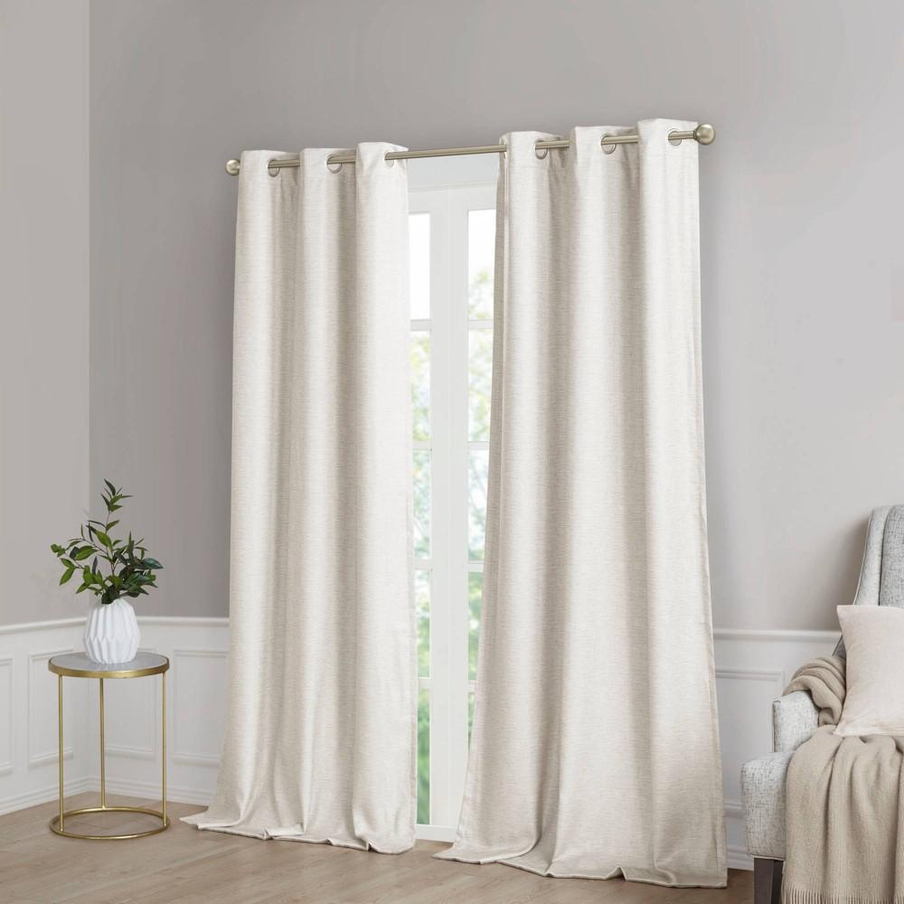 Set Of 2 63 34 X40 34 Aberdeen Faux Silk Blackout Curtain Panels Ivory