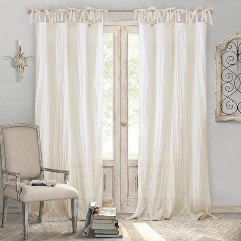 Jolie Semi-Sheer Tie Top Window Curtain Panel - Elrene Home Fashions - image 1 of 4