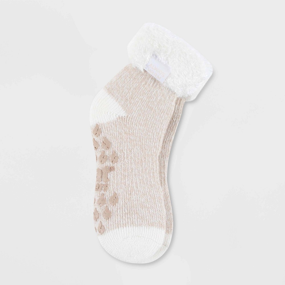 Image of Always Warm by Heat Holders Women's Warmest Twist Lounge Foldover Crew Socks - Cream/Oatmeal 5-9, Size: Small, Beige