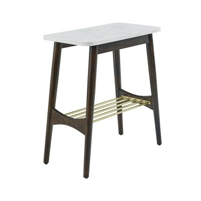 Barbara Mid-Century Modern Side Table with Lower Storage Rack Faux Marble - Saracina Home