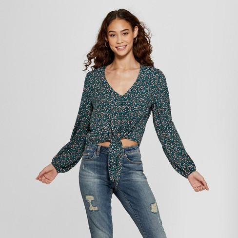 7bd89c6364338 Women s Floral Print Long Sleeve Button Front Tie Woven Top - Xhilaration™