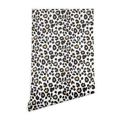 """2"""" x 10"""" Dash and Ash Leopard Heart Wallpaper Brown - Deny Designs"""