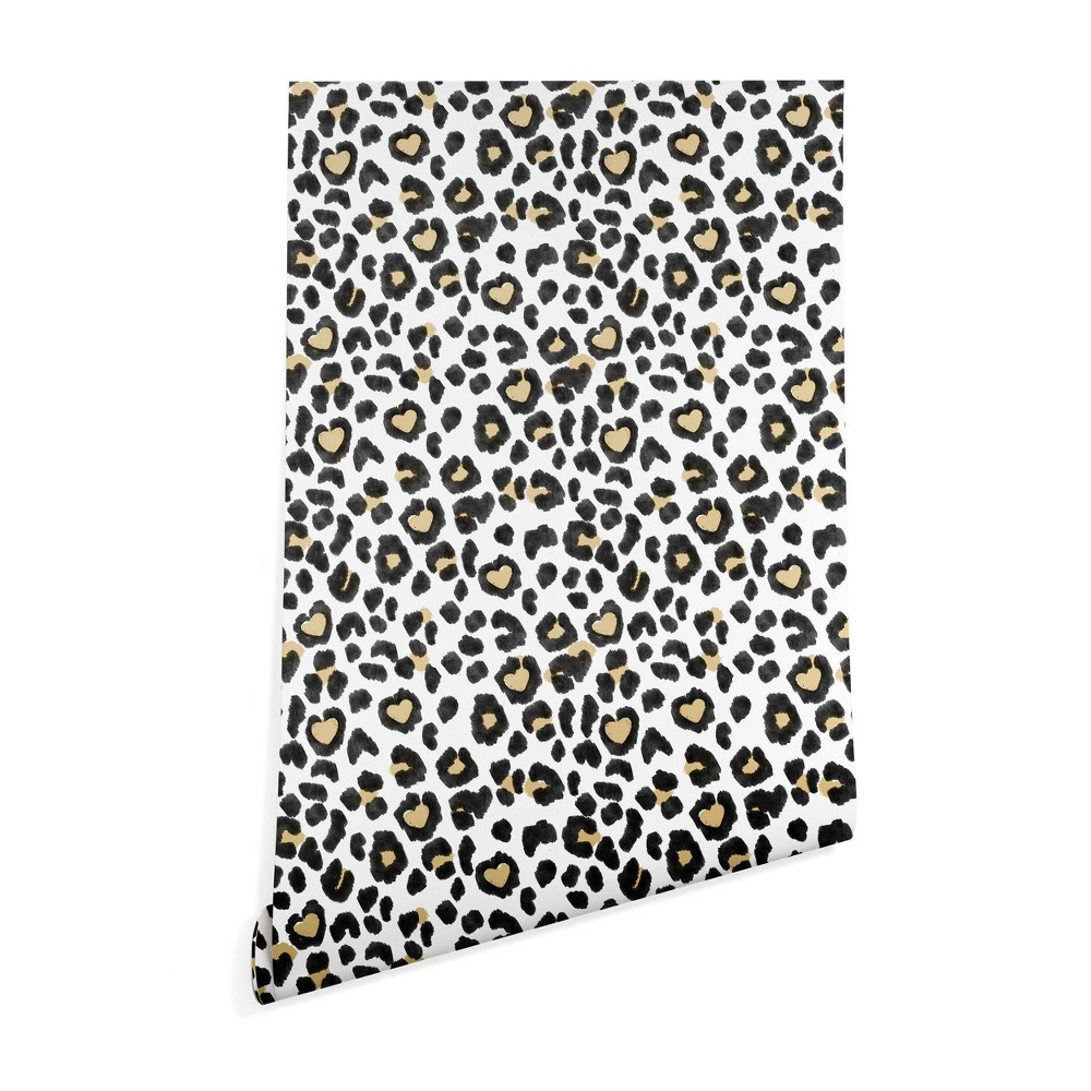 "Image of ""2"""" x 10"""" Dash and Ash Leopard Heart Wallpaper Brown - Deny Designs, Size: 2"""" x 10"""""""