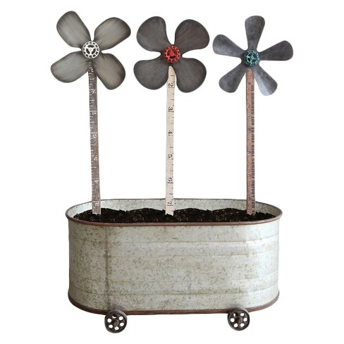 Metal and Wood Flower Tub Silver 4pc - 3R Studios - image 1 of 1