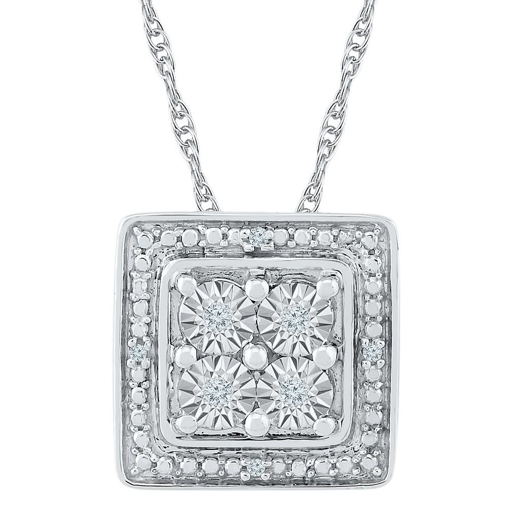 Diamond Accent Round White Diamond Square Fashion Pendant in Sterling Silver (I-J,I2-I3), Girl's