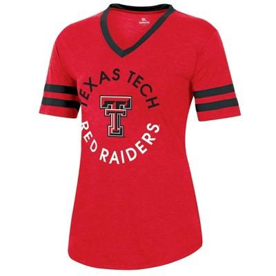 NCAA Texas Tech Red Raiders Women's Short Sleeve V-Neck Heathered T-Shirt