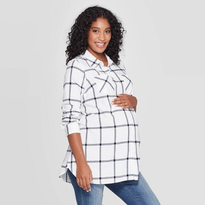 Maternity Plaid Elbow Sleeve Flannel Tunic - Isabel Maternity by Ingrid & Isabel™ Cream XL