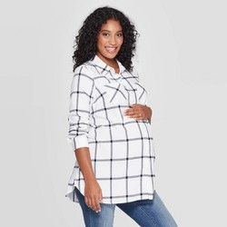 Maternity Plaid Elbow Sleeve Flannel Tunic - Isabel Maternity by Ingrid & Isabel™