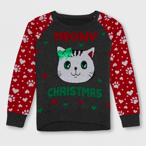 Well Worn Girls' 'Meowy Christmas' Sweater - Charcoal Gray/Red - image 1 of 2