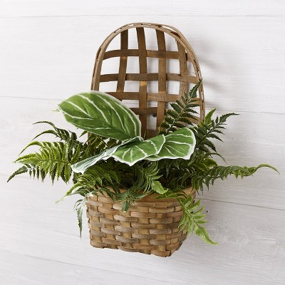 Lakeside Faux Fern in Wall Hanging Tobacco Basket - Artificial Indoor Plant