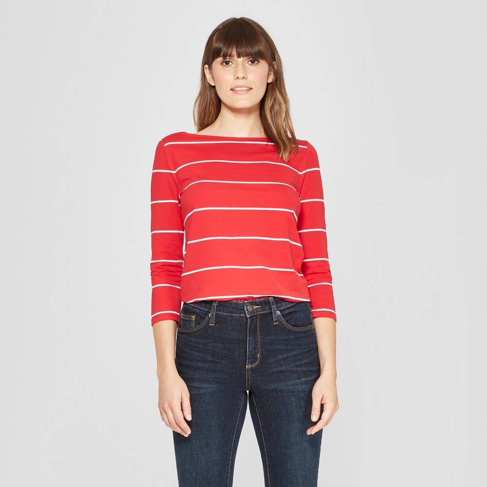 Women's Striped 3/4 Sleeve Boatneck T-Shirt - A New Day Red/White S