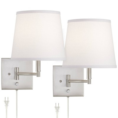 360 Lighting Modern Swing Arm Wall Lamps Set of 2 Brushed Nickel Plug-In Light Fixture White Empire Shade for Bedroom Living Room