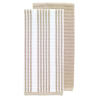 2pk Solid & Striped Waffle Terry Kitchen Towels Tan - T-Fal