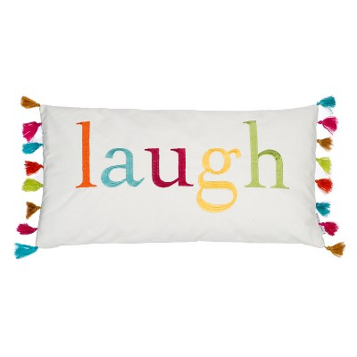 12x24 Jorja Tassels Pillow White - Homthreads