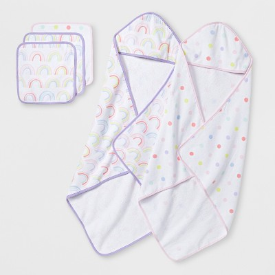 Baby Girls' Happy Hues Towel and Washcloth Set - Cloud Island™ Lavender One Size