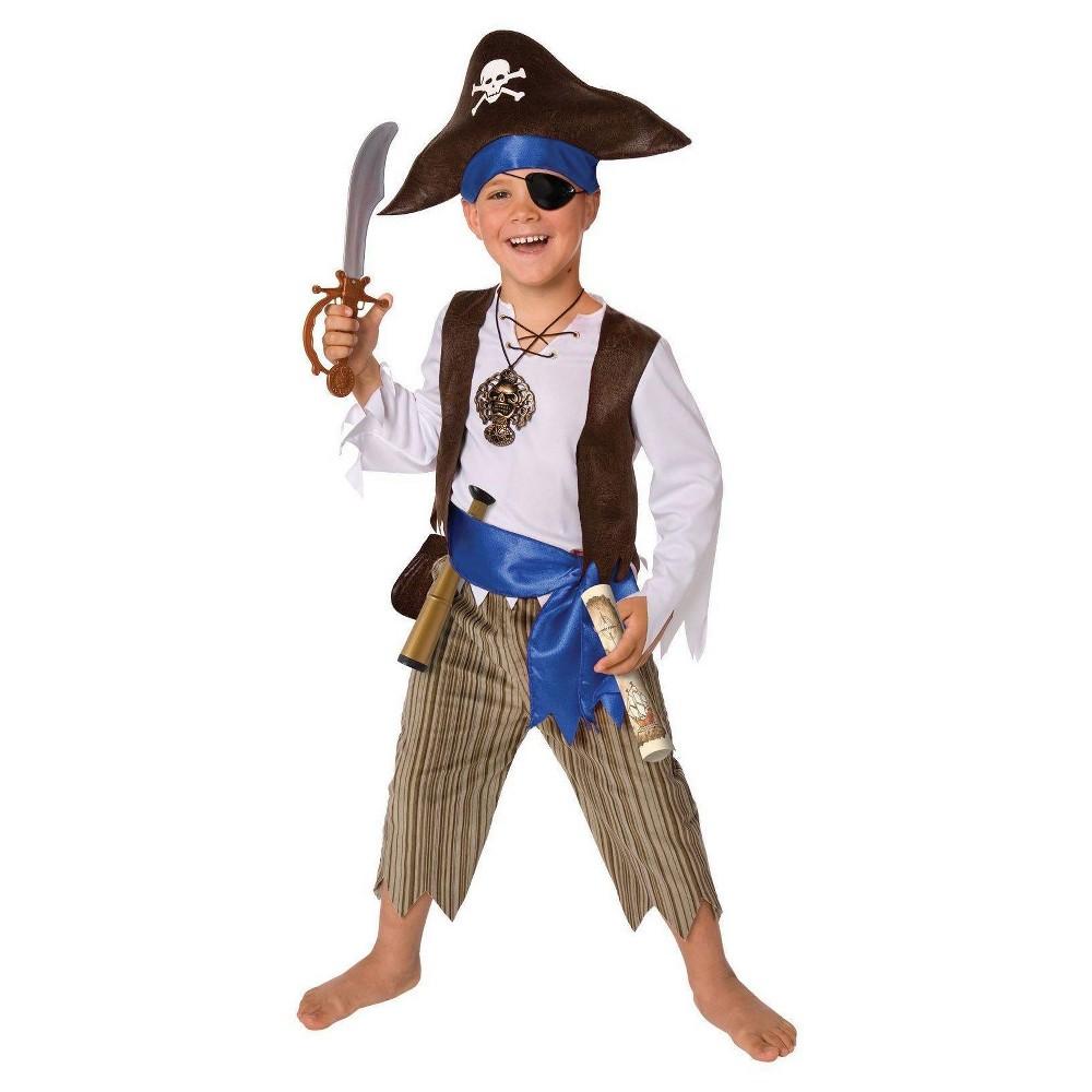 Pirate Costume Kit Kids' Medium 7-8, Boy's, Size: M(7-8), Gold