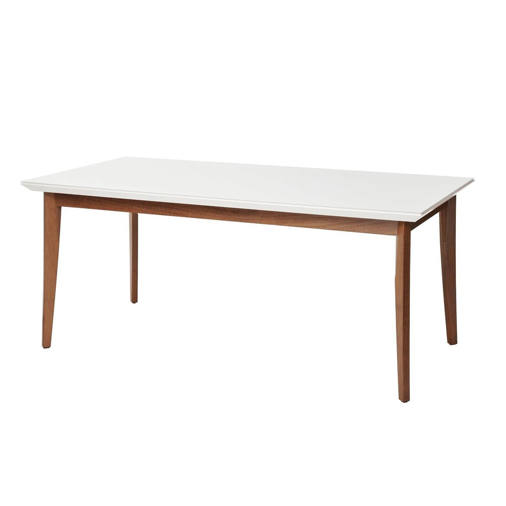 70.86 Lillian Modern Glass Top Dining Table with Solid Wood Legs Gloss White - Manhattan Comfort