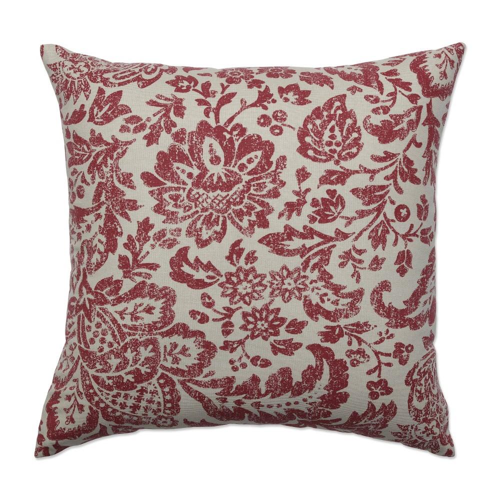 Red Tan Floral Damask Throw Pillow 16 5 X16 5 Pillow Perfect