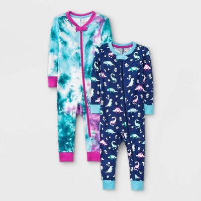 Baby Girls' 2pk Tie-Dye Dino Snug Fit Pajama Romper - Cat & Jack™ Aqua