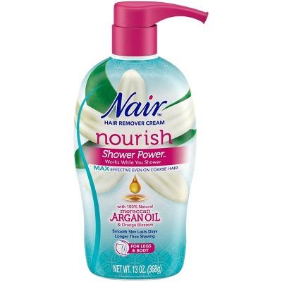 Nair Hair Remover Cream Nourish Shower Power Moroccan Argan Oil - 13oz