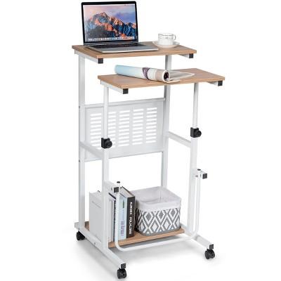 Costway Height Adjustable Computer Standing Desk w/wheels &Footrest