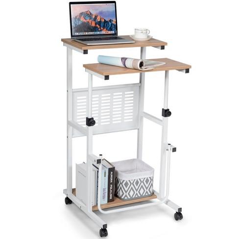 Costway Height Adjustable Computer, Computer Desk Wheels