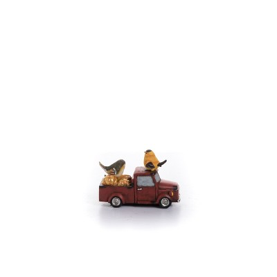 Transpac Resin 7 in. Red Harvest Birds On Truck