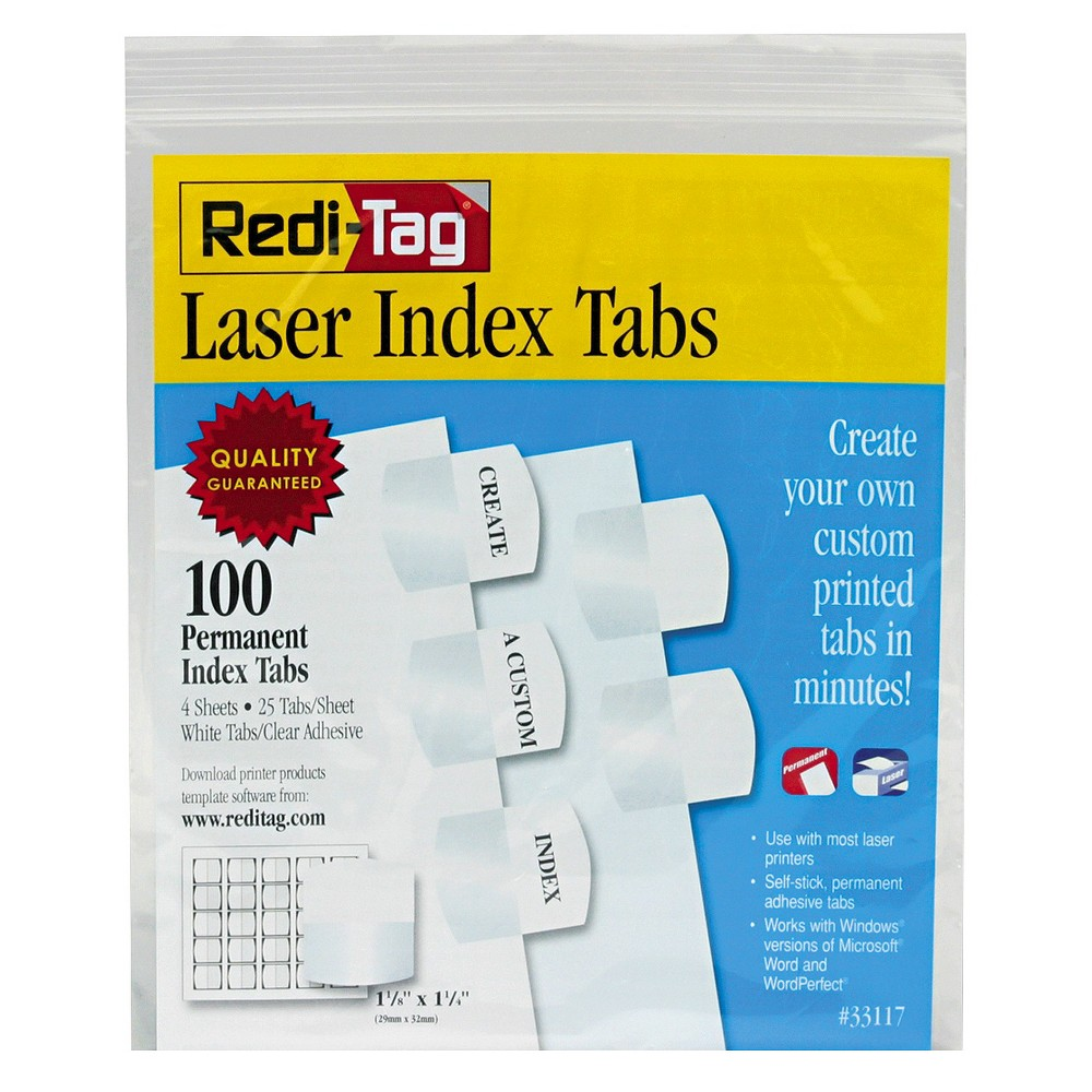 Image of Redi-Tag Laser Printable Index Tabs, 1 1/8 Inch, White, 100/Pack