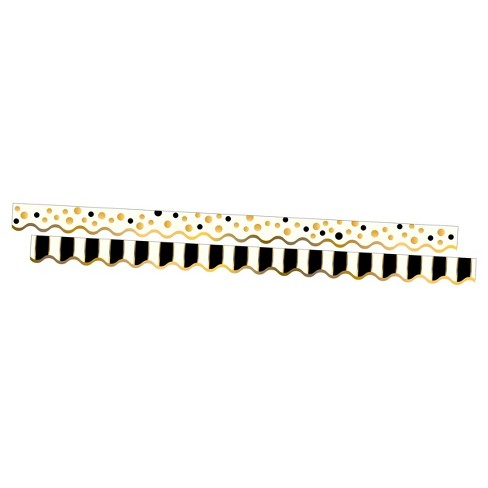 Barker Creek® Bulletin Board Double-Sided Border -Gold Dots & Stripes - image 1 of 4