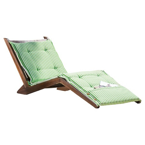 Sonora Wood Patio Folding Lounger with Cushion - Christopher Knight Home - image 1 of 4