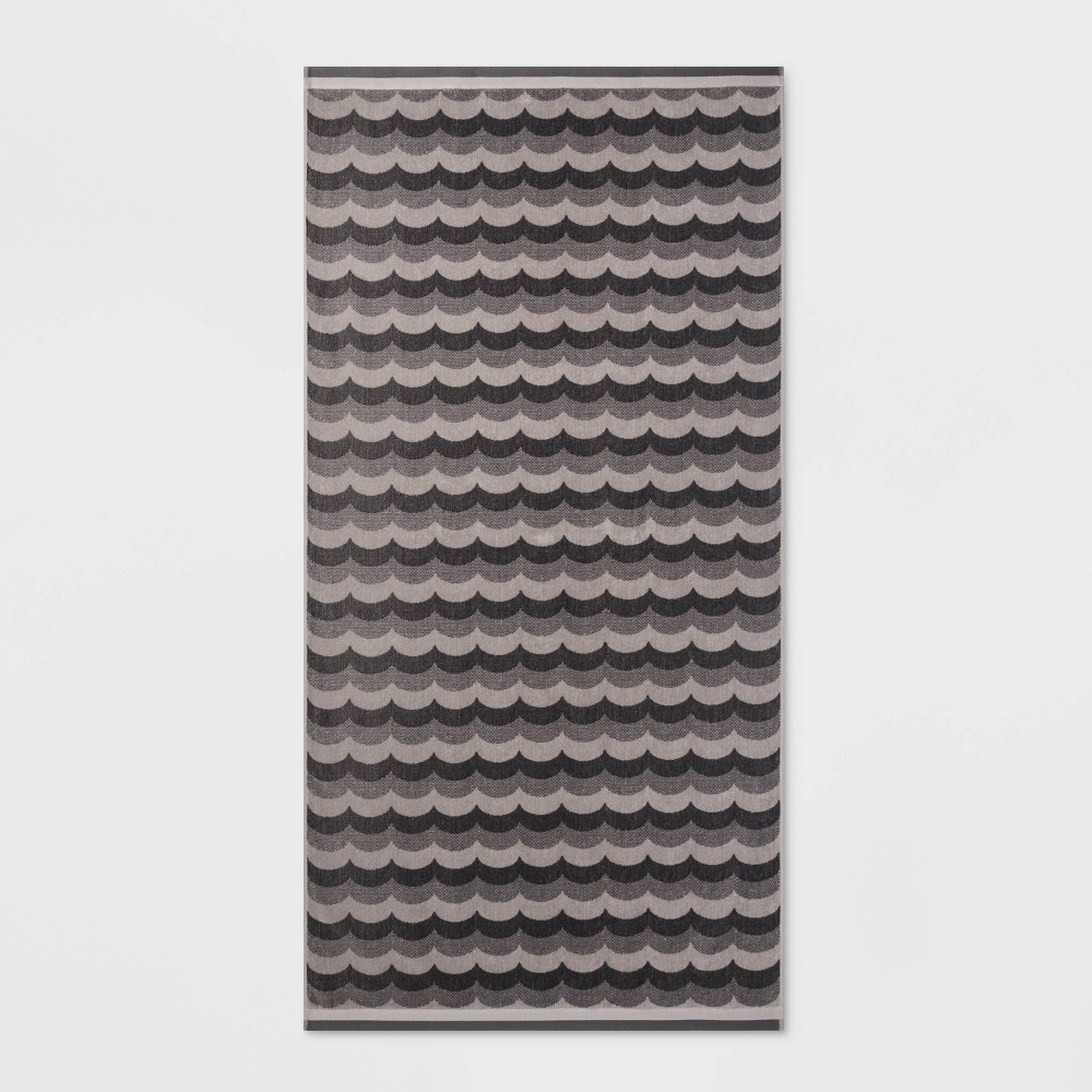 Image of Scalloped Waves Beach Towel XL Gray - Sun Squad