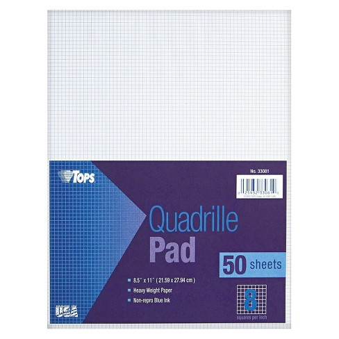 TOPS® 8-1/2 x 11 Quadrille Pads, 8 Squares/inc- White (50 Sheets per Pad) - image 1 of 1
