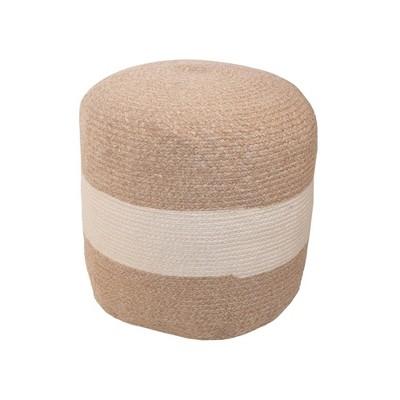 "19"" x 16"" Outdoor Braided Round Pouf White Stripe - Threshold™ designed with Studio McGee"
